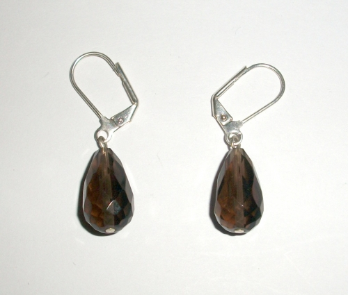 Smoky Quartz Facetted Dropper Earrings