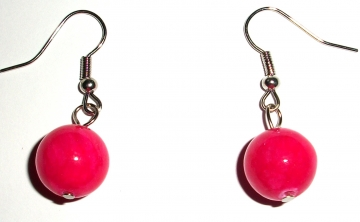 Magenta Jade Gemstone Sphere Earrings