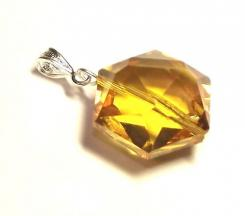 Sunset Andara Crystal Hexagon Pendant with Silk Cord