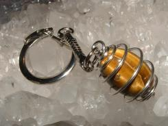 Tiger Eye Spiral Gemstone Crystal Cage Keyring