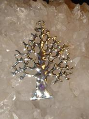 Sacred Tree Of Life Sterling Silver Gemstone Pendant