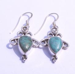 Turquoise Scroll Cabachon Eearrings