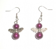 Midnight Purple Glass Pearl Fairy Earrings