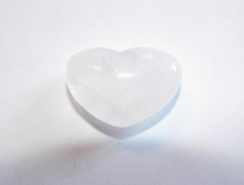 Quartz Polished Gemstone Crystal Heart - Milky Version