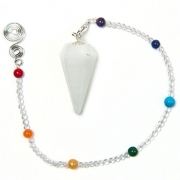 Milky White Quartz Dowser with Chakra Chain