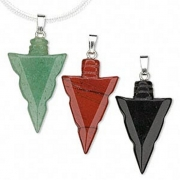 Gemstone Arrowhead Carved Pendant - various types available