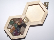 Wooden Hexagon Box with assorted Gems and Crystals