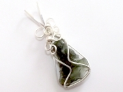 Moldavite Sterling Silver Wire Wrapped Scupted Pendant - 2