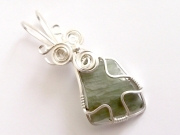 Moldavite Sterling Silver Wire Wrapped Scupted Pendant - 3