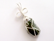 Moldavite Sterling Silver Wire Wrapped Scupted Pendant - 4