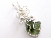 Moldavite Sterling Silver Wire Wrapped Scupted Pendant - 5