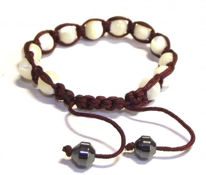 Mother Of Pearl Drawstring Gemstone Bracelet