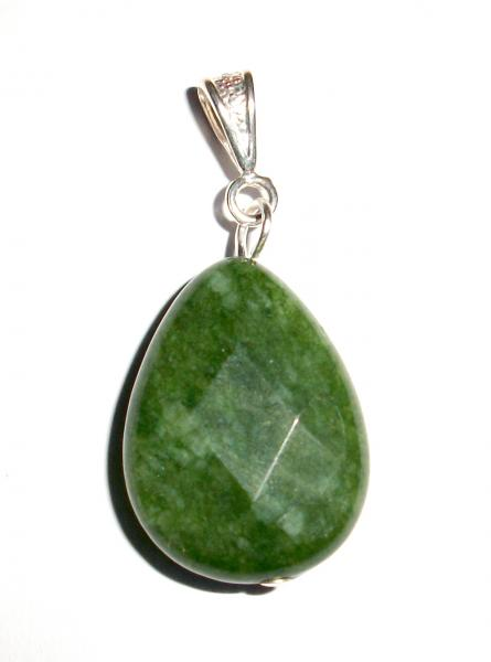Dark Green Jade Facetted Teardrop Pendant