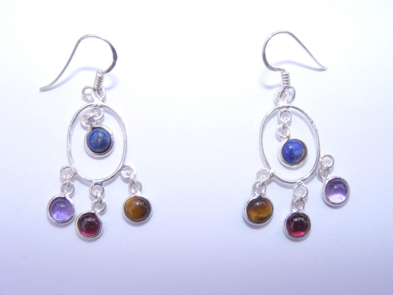 Mixed Gemstone Cabachon Sts Earrings
