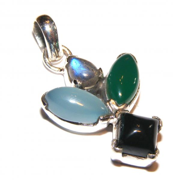 Multi - Gemstone Sterling Silver Pendant B