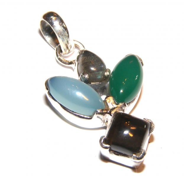 Multi - Gemstone Sterling Silver Pendant