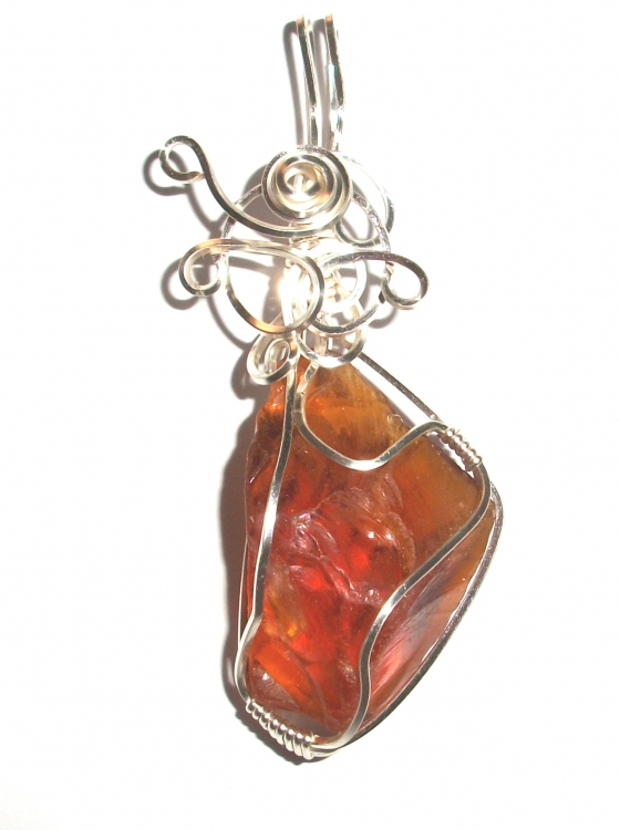 Flame Andara Crystal Wired / Wire Wrapped Pendant