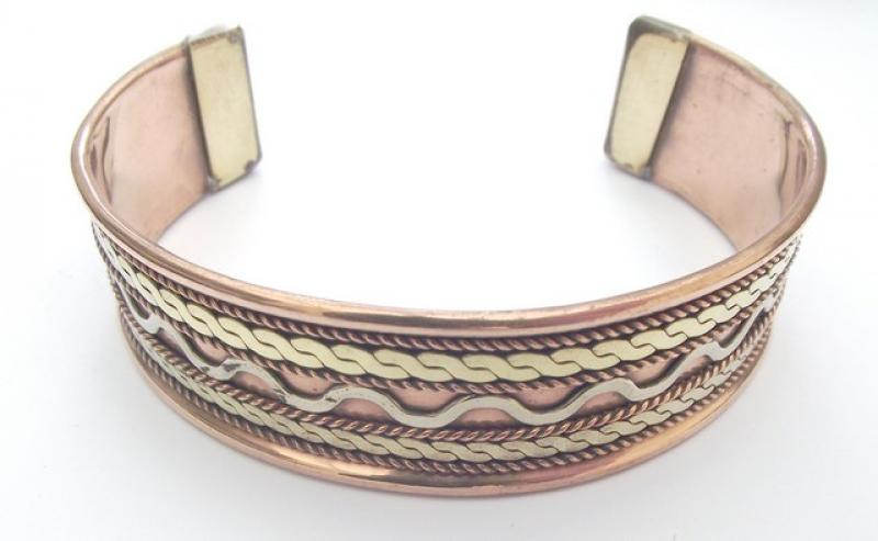 Ornate Copper And Brass Cuff Bracelet