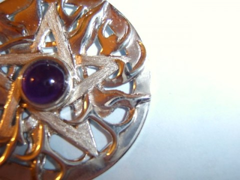 Large Ornate Amethyst Pentagram Pendant