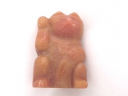 Lucky Cat Gemstone Carving - Peach Aventurine