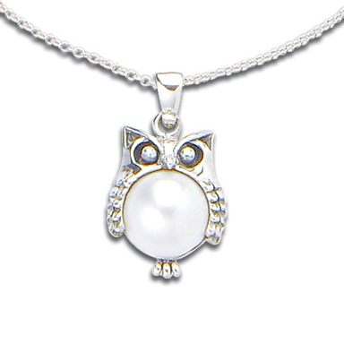 Pearl sterling silver owl pendant 19514 3499 the gem tree pearl sterling silver owl pendant larger image mozeypictures Image collections