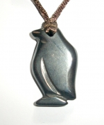Penguin Carved Hematite Pendant