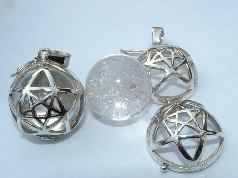 Pentacle / Pentagram Cage With Quartz Sphere