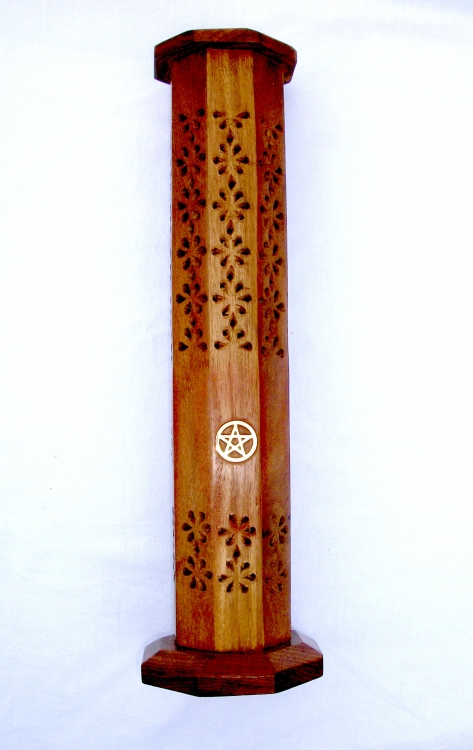 Wooden Sheesham Incense Tower - Pentagram