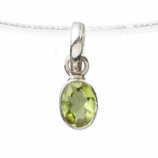 Peridot Facetted Oval Sterling Silver Pendant