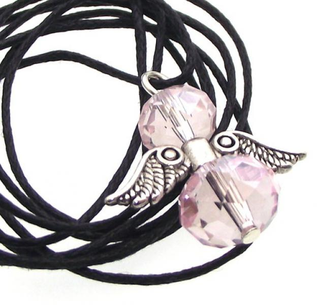 Pink Crystal Guardian Angel of Light Pendant