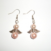 Light Pink Glass Pearl Angel Earrings