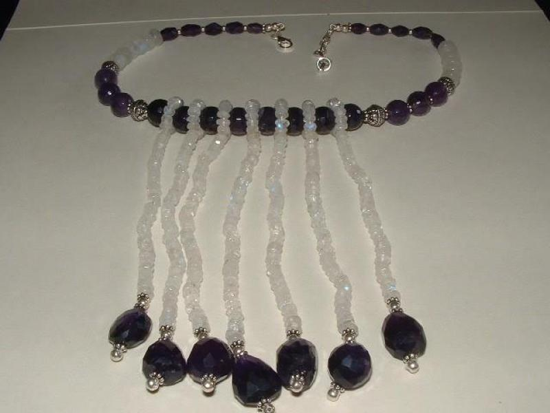 Amethyst And Rainbow Moonstone Choker Necklace - Sterling Silver