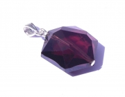 Purple Andara Crystal Hexagon Pendant with Silk Cord
