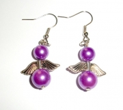Light Purple Glass Pearl Angel Earrings