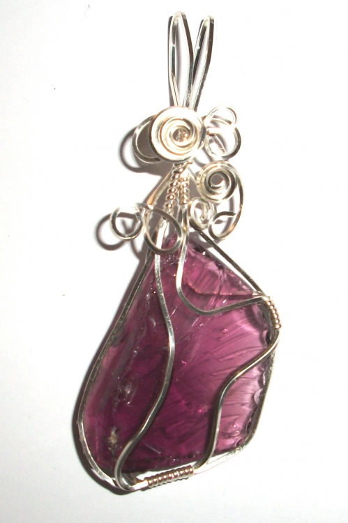 Purple Andara Crystal Wired / Wire Wrapped Pendant