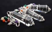 Quartz Double Terminated Coil Pendulum with Chakra Gem Chain