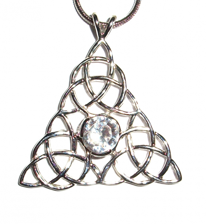 Clear Quartz Triquetra Inspired Pendant with Chain