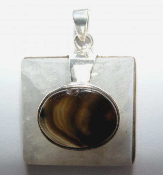 Rainbow Moonstone Square And Agate Cabachon Pendant