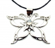 Butterfly and Pentagram Gemstone Cabachon Pendant
