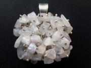 Rainbow Moonstone Chip Sterling Silver Pendant - Large