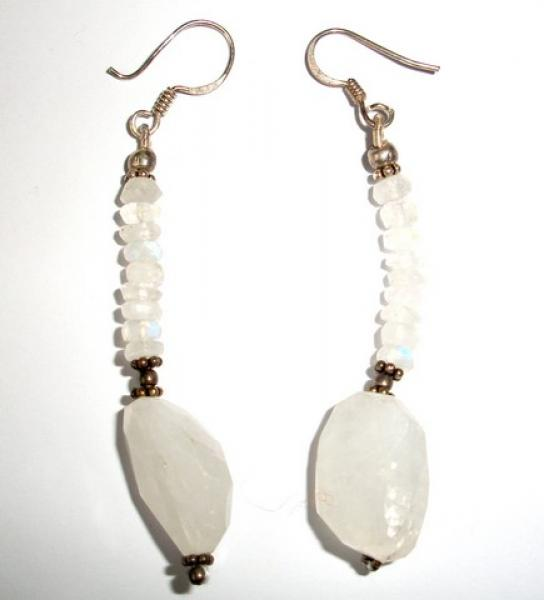 Rainbow Moonstone Facetted Sterling Silver Earrings