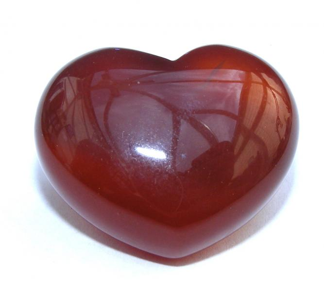 Red Agate Polished Gemstone Crystal Heart