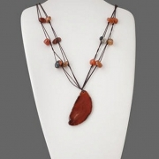 Red Agate Freeform and Tumblestone Necklace