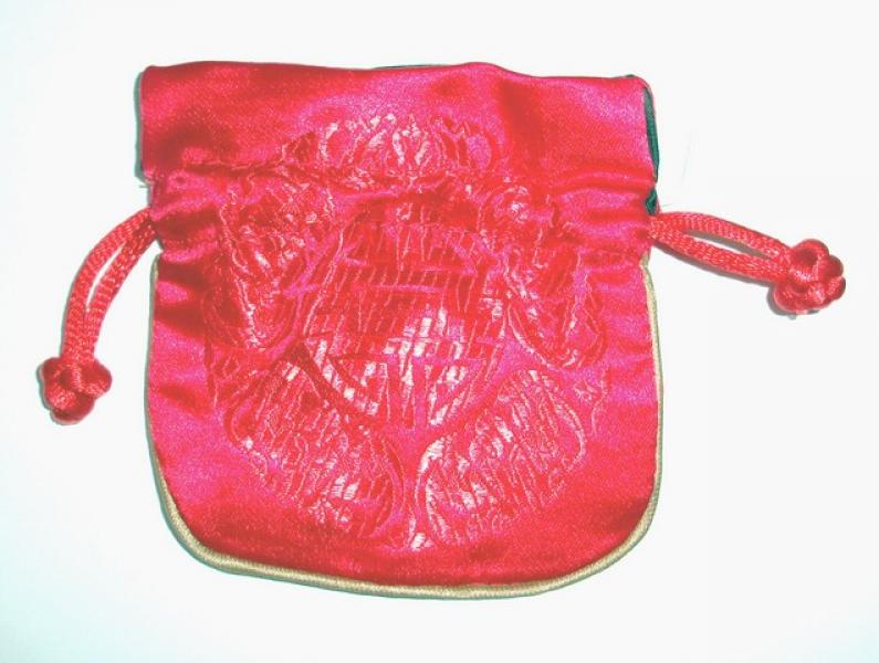 Embossed Red Chinese Silk Brocade Pouch