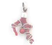 Red Coral Sterling Silver Branch Pendant - 2