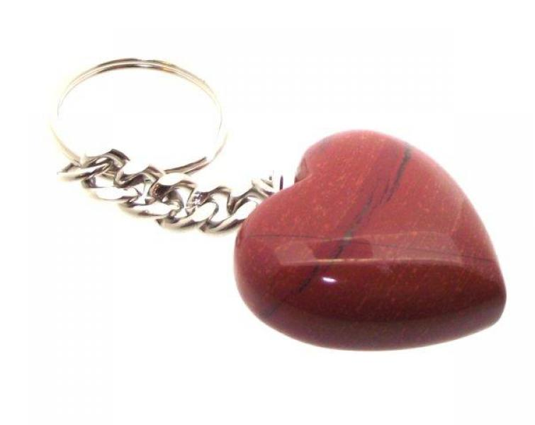 Red Jasper Heart Gemstone Crystal Keyring