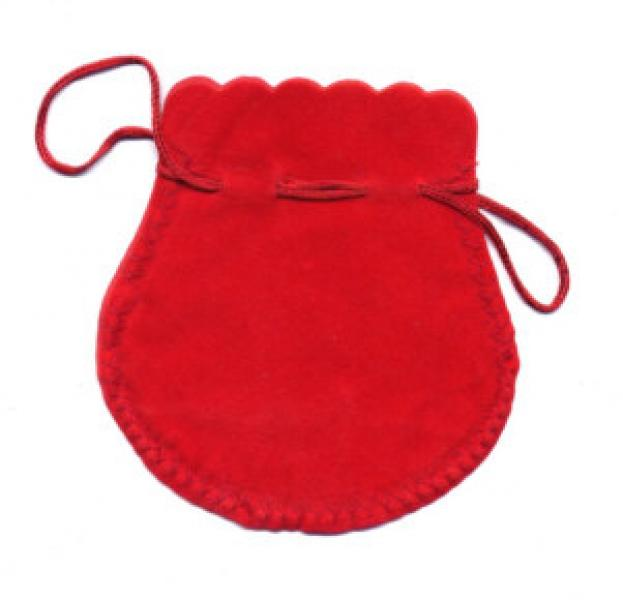 Velvet Drawstring Pouches - Red