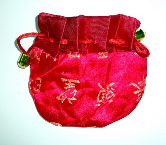Red Chinese Silk Pouch