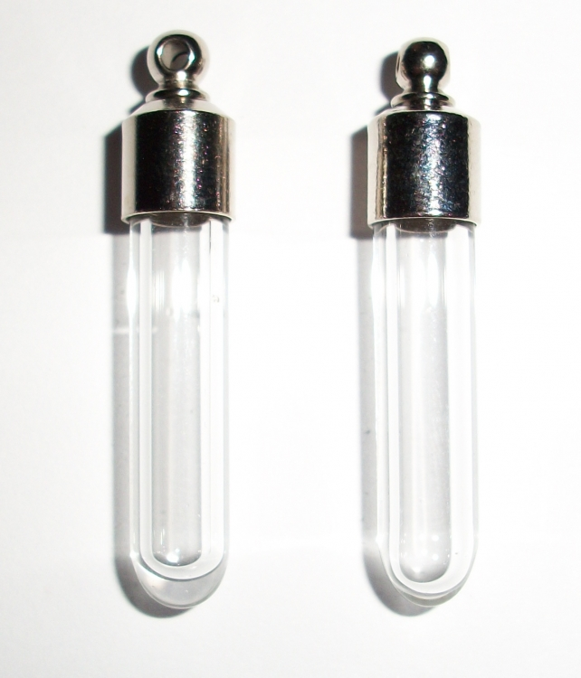 Set of 2 Resealable Glass Vial Pendants