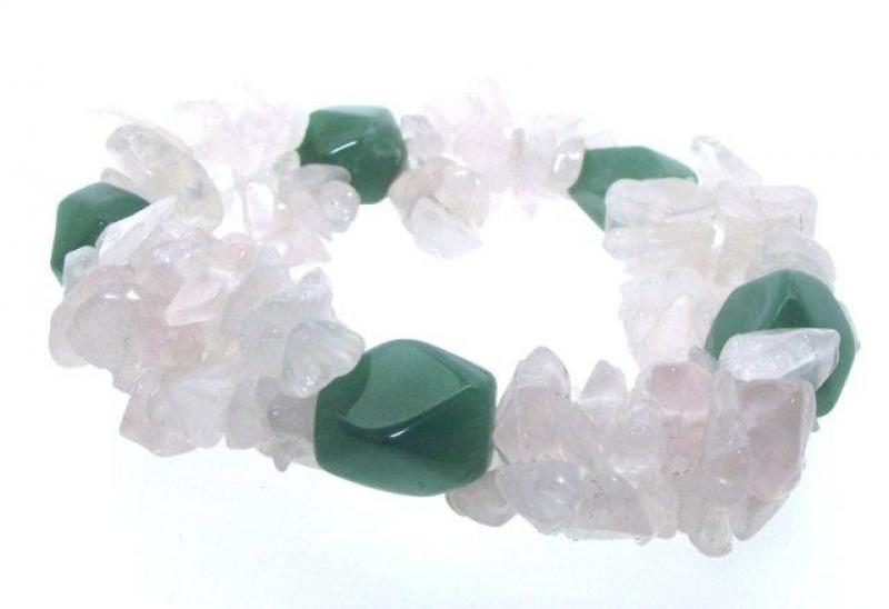 Rose Quartz and Green Aventurine Chip Bracelet